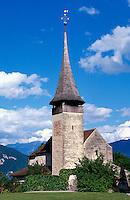 Schweiz, Schlosskirche in Spiez am Thuner See im Berner Oberland