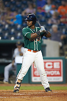 Isael Soto (15) of the Greensboro Grasshoppers at bat against the West Virginia Power at First National Bank Field on August 9, 2018 in Greensboro, North Carolina. The Power defeated the Grasshoppers 9-7 in game two of a double-header. (Brian Westerholt/Four Seam Images)