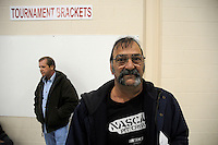 56 year old Evan Zaganas wears his first pair of glasses. Over the weekend at Soft Shell, Knott County, in the Appalachian mountains of eastern Kentucky, the congressional district with the nation's lowest life expectancy, RAM volunteers saw 822 needy people. 95 percent of people seen were provided with dental or optical care. RAM was founded in 1985 to provide free health, dental and eye care in the developing world. However, RAM now provides 60 percent of its services in the US, providing for the estimated 47 million Americans without health insurance..