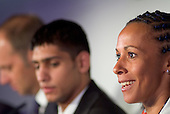 Olympic gold medallist Kelly Holmes speaks at a London 2012 press conference at the beginning of the International Olympic Committee Evaluation Commission's official visit to London to asses the city's bid for the 2012 games.