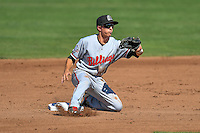 Ty Blankmeyer (11) of the Billings Mustangs fields a throw at second base during the game against the Ogden Raptors in Pioneer League action at Lindquist Field on August 14, 2016 in Ogden, Utah. Ogden defeated Billings 15-9. (Stephen Smith/Four Seam Images)
