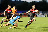 20130803 Copyright onEdition 2013 ©<br /> Free for editorial use image, please credit: onEdition.<br /> <br /> Matt Hankin of Saracens 7s escapes George Eastwell of London Wasps 7s to run in a try during the J.P. Morgan Asset Management Premiership Rugby 7s Series.<br /> <br /> The J.P. Morgan Asset Management Premiership Rugby 7s Series kicks off for the fourth season on Thursday 1st August with Pool A at Kingsholm, Gloucester with Pool B being played at Franklin's Gardens, Northampton on Friday 2nd August, Pool C at Allianz Park, Saracens home ground, on Saturday 3rd August and the Final being played at The Recreation Ground, Bath on Friday 9th August. The innovative tournament, which involves all 12 Premiership Rugby clubs, offers a fantastic platform for some of the country's finest young athletes to be exposed to the excitement, pressures and skills required to compete at an elite level.<br /> <br /> The 12 Premiership Rugby clubs are divided into three groups for the tournament, with the winner and runner up of each regional event going through to the Final. There are six games each evening, with each match consisting of two 7 minute halves with a 2 minute break at half time.<br /> <br /> For additional images please go to: http://www.w-w-i.com/jp_morgan_premiership_sevens/<br /> <br /> For press contacts contact: Beth Begg at brandRapport on D: +44 (0)20 7932 5813 M: +44 (0)7900 88231 E: BBegg@brand-rapport.com<br /> <br /> If you require a higher resolution image or you have any other onEdition photographic enquiries, please contact onEdition on 0845 900 2 900 or email info@onEdition.com<br /> This image is copyright the onEdition 2013©.<br /> <br /> This image has been supplied by onEdition and must be credited onEdition. The author is asserting his full Moral rights in relation to the publication of this image. Rights for onward transmission of any image or file is not granted or implied. Changing or deleting Copyright information is illegal as specified i