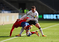 17th October 2020; Liberty Stadium, Swansea, Glamorgan, Wales; English Football League Championship Football, Swansea City versus Huddersfield Town; Harry Toffolo of Huddersfield Town is fouled by Connor Roberts of Swansea City during the first half