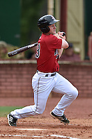 Elizabethton Twins designated hitter Max Murphy #13 swings at a pitch during a game against the  Bristol Pirates at Joe O'Brien Field June 30, 2014 in Elizabethton, Tennessee. The Twins defeated the Pirates 8-5 in game one of a double header. (Tony Farlow/Four Seam Images)