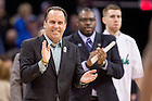 Mar. 28, 2015; Head coach Mike Brey smiles in the first half of the 2015 NCAA Tournament regional final against Kentucky. (Photo by Matt Cashore/University of Notre Dame)