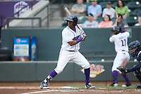 Luis Alexander Basabe (16) of the Winston-Salem Dash at bat against the Buies Creek Astros at BB&T Ballpark on May 5, 2018 in Winston-Salem, North Carolina. The Dash defeated the Astros 6-2. (Brian Westerholt/Four Seam Images)