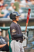 Thairo Estrada (5) of the Sacramento River Cats during the game against the Salt Lake Bees at Smith's Ballpark on August 16, 2021 in Salt Lake City, Utah. The Bees defeated the River Cats 6-0. (Stephen Smith/Four Seam Images)