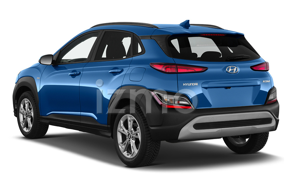 Car pictures of rear three quarter view of 2021 Hyundai Kona Techno 5 Door SUV Angular Rear