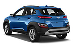 Car pictures of rear three quarter view of 2021 Hyundai Kona Techno 5 Door SUV Angular Rear