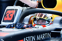 March 15, 2019: Max Verstappen (NLD) #33 from the Aston Martin Red Bull Racing team in his garage during practice session two at the 2019 Australian Formula One Grand Prix at Albert Park, Melbourne, Australia. Photo Sydney Low