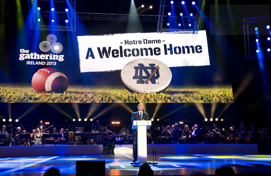 """Aug. 31, 2012; Enda Kenny, An Taoiseach of Ireland speaks at the """"Notre Dame a Welcome Home"""" pep rally at O2 arena in Dublin...Photo by Matt Cashore/University of Notre Dame"""