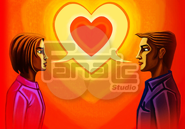 Illustration of couple with heart bubble representing communication