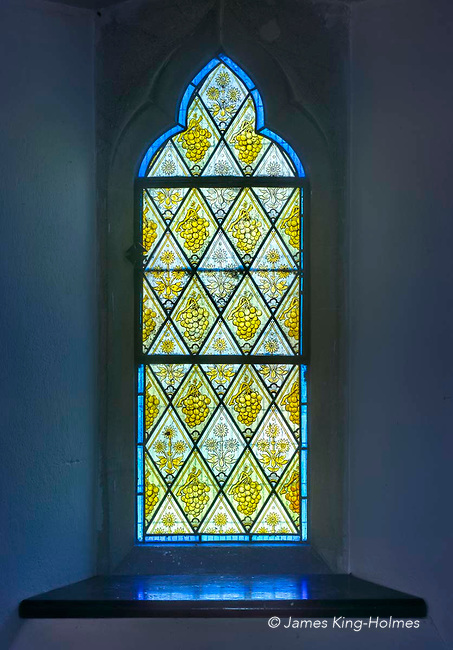 Stained glass window on the north wall of the chancel of St Lawrence Church, Tubney, Oxfordshire, UK. This is the only Protestant church designed by Augustus Pugin. The interior fittings and windows were designed by him and remain unchanged since its consecration in 1847.