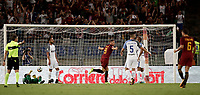 Calcio, Serie A: Roma, stadio Olimpico, 26 agosto, 2017.<br /> Roma's Edin Dzeko celebrates after scoring during the Italian Serie A football match between Roma and Inter at Rome's Olympic stadium, AUGUST 26, 2017.<br /> UPDATE IMAGES PRESS/Isabella Bonotto