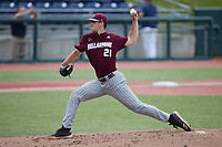 Bellarmine Knights starting pitcher Shane Barringer (21) in action against the Liberty Flames at Liberty Baseball Stadium on March 9, 2021 in Lynchburg, VA. (Brian Westerholt/Four Seam Images)