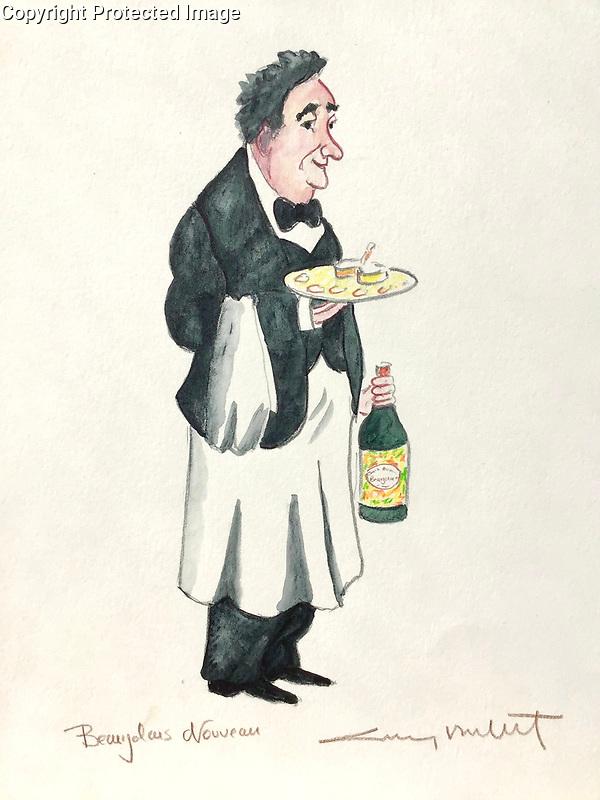 """""""Beaujolais Nouveau""""<br /> 11x13 ORIGINAL Watercolor on Paper<br /> $1,750"""