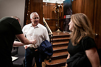 """tripple Tour winner Greg Lemond getting prepped for the stage<br /> <br /> Rouleur Classic London 2019<br /> """"The World's Finest Road Cycling Exhibition""""<br /> <br /> ©kramon"""