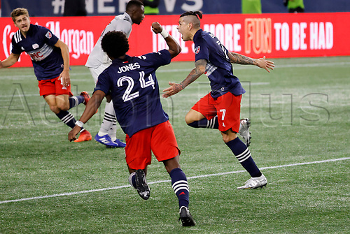 20th November 2020; Foxborough, MA, USA;  New England Revolution forward Gustavo Bou reacts to his stoppage time winner during the MLS Cup Play-In game between the New England Revolution and the Montreal Impact
