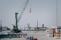 peloton cruising the Antwerp Harbour docks during the neutralised section<br /> <br /> 92nd Schaal Sels 2017 <br /> 1 Day Race: Merksem > Merksem (188km)