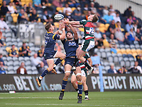 29th May 2021; Sixways Stadium, Worcester, Worcestershire, England; Premiership Rugby, Worcester Warriors versus Leicester Tigers; Harry Potter of Leicester Tigers competes in the air with Jamie Shillcock and Andrew Kitchener of Worcester Warriors