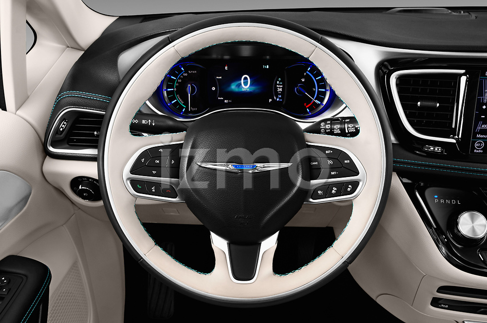 Car pictures of steering wheel view of a 2019 Chrysler Pacific Hybrid Limited 5 Door Mini Van