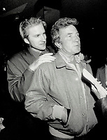1987 FILE PHOTO - ARCHIVES -<br /> <br /> Actor Matthew Modine and co-star Albert Finney clown around at reception for the world premiere of Orphans at the recent Toronto film festival.<br /> <br /> 1987<br /> <br /> PHOTO :  Erin Comb - Toronto Star Archives - AQP