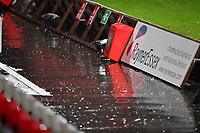 General view of the Lamex Stadium heavy rain during Stevenage vs MK Dons, EFL Trophy Football at the Lamex Stadium on 6th October 2020