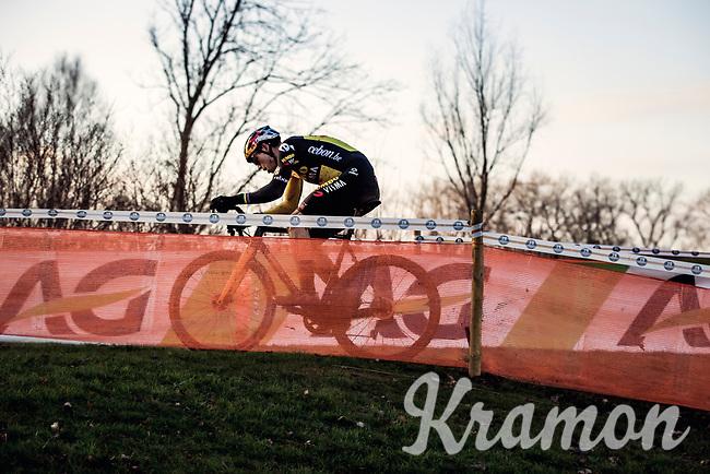 Wout van Aert (BEL/Jumbo-Visma) soloing to a 4th National Elite Cyclocross Title<br /> <br /> Elite Men's Race<br /> Belgian National CX Championships<br /> Meulebeke 2021<br /> <br /> ©kramon