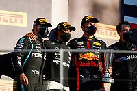 BOTTAS Valtteri (fin), Mercedes AMG F1 GP W11 Hybrid EQ Power+, HAMILTON Lewis (gbr), Mercedes AMG F1 GP W11 Hybrid EQ Power+, ALBON Alexander (tha), Aston Martin Red Bull Racing Honda RB16, podium during the Formula 1 Pirelli Gran Premio Della Toscana Ferrari 1000, 2020 Tuscan Grand Prix, from September 11 to 13, 2020 on the Autodromo Internazionale del Mugello, in Scarperia e San Piero, near Florence, Italy - <br /> Mugello 13-09-2020 Formula 1 Gp Toscana<br /> Photo FLORENT GOODEN/DPPI/Panoramic/Insidefoto <br /> ITALY ONLY