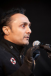 Rahul Bose (India).Bollywood actor and Global Ambassador for Oxfam speaks to the crowd. (Images free for Editorial Web usage for Fresh Air Participants during COP 15. Credit: Robert vanWaarden)