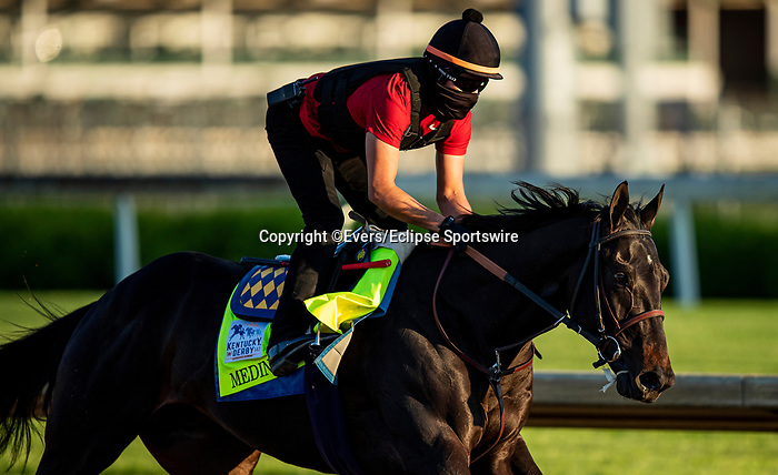 April 27, 2021: Medina Spirit gallops in preparation for the Kentucky Derby at Churchill Downs in Louisville, Kentucky on April 27, 2021. EversEclipse Sportswire/CSM