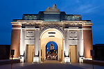 Belgium, West Vlaanderen, Ypres: Nightshot of the Menin Memorial Gate, containing names of 54,896 Britons who died in World War 1 battles and with no known grave
