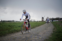 Stijn Devolder (BEL/Trek-Segafredo) in sector 7: Templeuve (Moulin-de-Vertain) during recon of the 114th Paris - Roubaix 2016