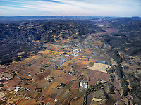 aerial photograph of Napa Valley, California in Fall