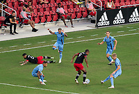 WASHINGTON, DC - SEPTEMBER 06: Ola Kamara #9 of D.C. United controls the ball in traffic during a game between New York City FC and D.C. United at Audi Field on September 06, 2020 in Washington, DC.
