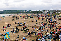 Pictured: A crowd of thousands of people attend the show. Saturday 01 July 2017<br />Re: National Wales Air Show in Swansea Bay, Wales, UK.
