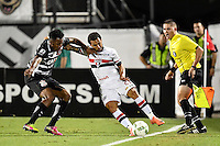 Orlando, FL - Saturday Jan. 21, 2017: São Paulo forward W. Nem (21) protects the ball from Corinthians left back Moisés (6) during the first half of the Florida Cup Championship match between São Paulo and Corinthians at Bright House Networks Stadium.