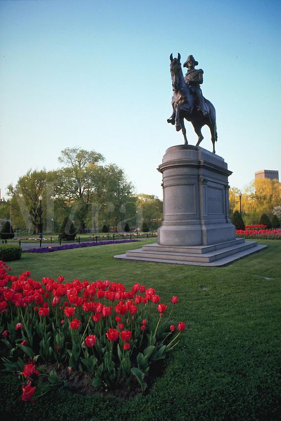 Equestrian statue of George Washington in the Public Garden. Boston, Massachusetts.