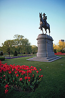 Equestrian statue of George Washington in the Public Garden. Boston, Massachusetts.