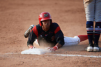 Batavia Muckdogs right fielder Brayan Hernandez (41) slides safely into third base after hitting a triple during the first game of a doubleheader against the Mahoning Valley Scrappers on August 28, 2017 at Dwyer Stadium in Batavia, New York.  Mahoning Valley defeated Batavia 6-3.  (Mike Janes/Four Seam Images)