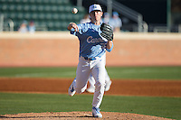 North Carolina Tar Heels starting pitcher J.B. Bukauskas (38) makes a pick-off throw to first base against the Kentucky Wildcats at Boshmer Stadium on February 17, 2017 in Chapel Hill, North Carolina.  The Tar Heels defeated the Wildcats 3-1.  (Brian Westerholt/Four Seam Images)