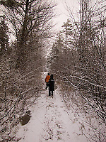 Couple walking down snow covered path through the woods<br />