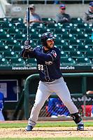 San Antonio Missions first baseman David Freitas (23) at bat during a Pacific Coast League game against the Iowa Cubs on May 2, 2019 at Principal Park in Des Moines, Iowa. Iowa defeated San Antonio 8-6. (Brad Krause/Four Seam Images)