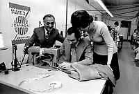 Montreal, CANADA - undated  File Photo -   Quebec Labour Minister Jean Cournoyer visit a sewing company.<br /> <br /> Cournoyer was Quebec Labour Minister from March 1970 to July 1975.<br /> <br /> <br /> Photo : Agence Quebec Presse - Alain Renaud