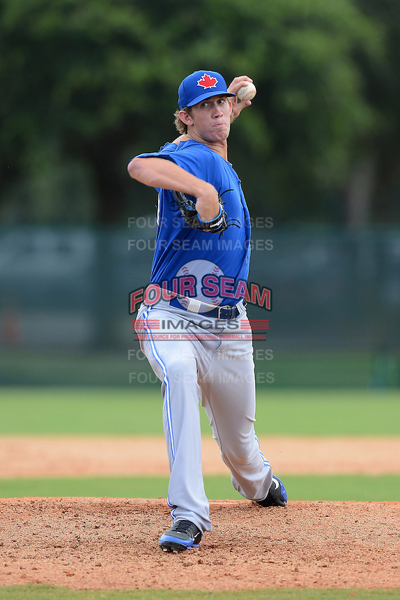 GCL Blue Jays pitcher Matthew Smoral (43) during a game against the GCL Braves on July 15, 2013 at Disney's Wide World of Sport in Orlando, Florida.  The game was called in the 4th inning due to rain storms with the Braves leading 5-0.  (Mike Janes/Four Seam Images)