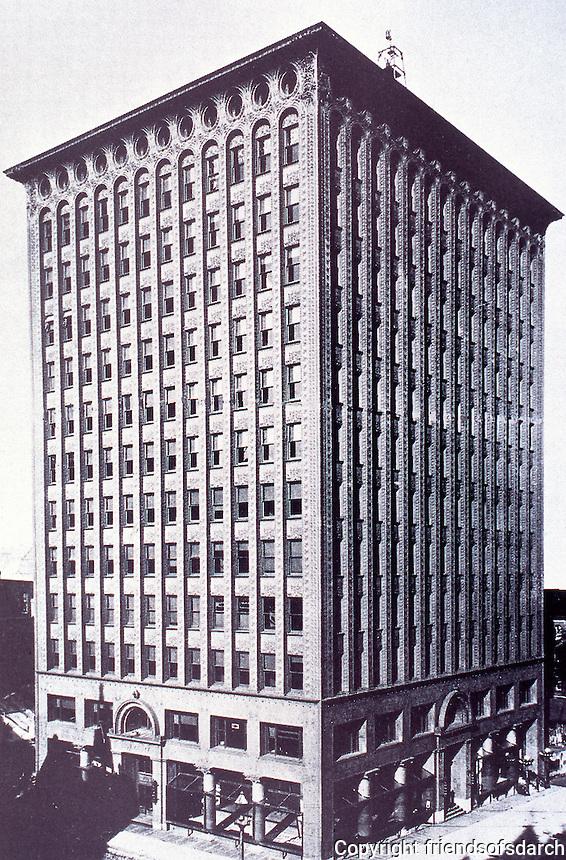 Louis Sullivan, Guaranty Building, Buffalo, NY., 1896. Steel skyscraper  embellished with terra cotta blocks.<br /> NRHP 1973.