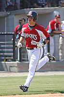 Devin Mesoraco #36 of the Carolina Mudcats rounding the bases after hitting his first home run as a member of the Carolina Mudcats during a game against the West Tenn Diamond Jaxx on May 30, 2010 in Zebulon, NC.