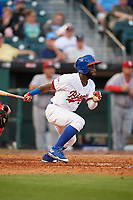 Buffalo Bisons center fielder Roemon Fields (37) bats during a game against the Syracuse Chiefs on June 30, 2017 at Coca-Cola Field in Buffalo, New York.  Syracuse defeated Buffalo 8-1.  (Mike Janes/Four Seam Images)