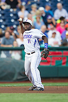 Florida Gators third baseman Josh Tobias (11) makes a throw to first base against the Miami Hurricanes in the NCAA College World Series on June 13, 2015 at TD Ameritrade Park in Omaha, Nebraska. Florida defeated Miami 15-3. (Andrew Woolley/Four Seam Images)