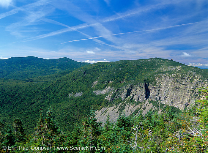 Scenic view of Cannon Mountain  from Old Bridle Path in the White Mountain National Forest of New Hampshire. This hiking trail offers exceptional views of the mountains in the surrounding area.
